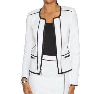WHBM THE PIPED LONG SLEEVE WHITE AND BLACK JACKET